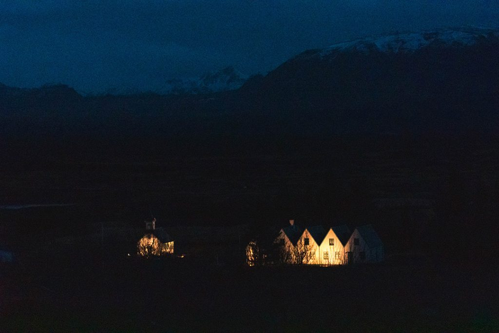 Thingvellir National Park - the parliament lit up in the dark
