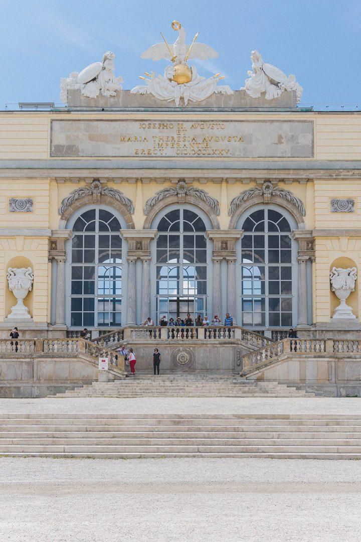 A close-up of the Gloriette at Schönbrunn Palace