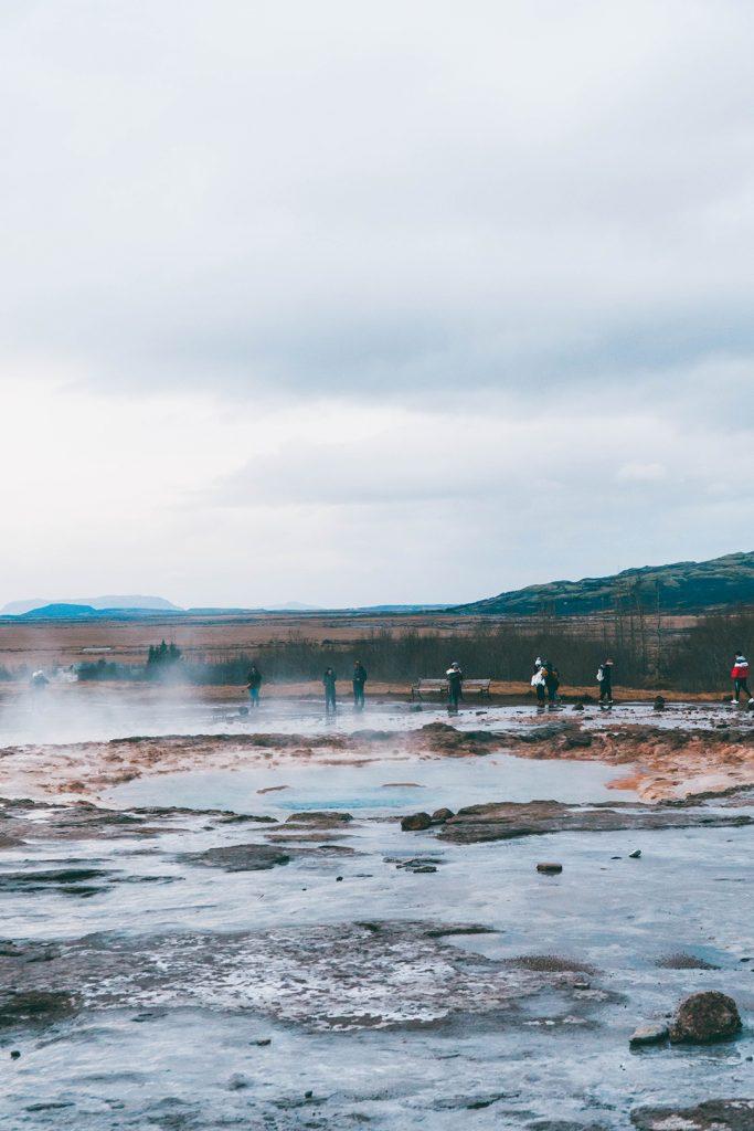 Steam rising from Stokkur geyser before it erupts