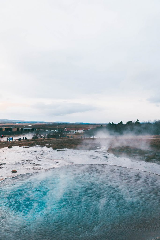 Stunningly blue hot spring at Geysir Geothermal Area on the Golden Circle