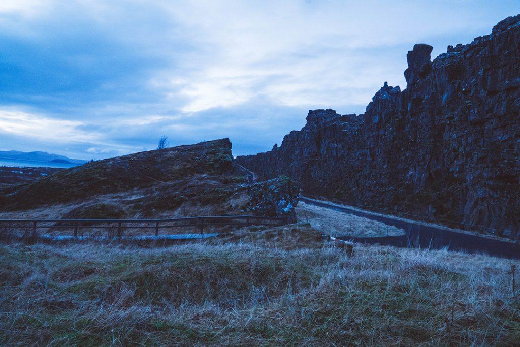 The cliffs of Almannagjá gorge  in Thingvellir National Park