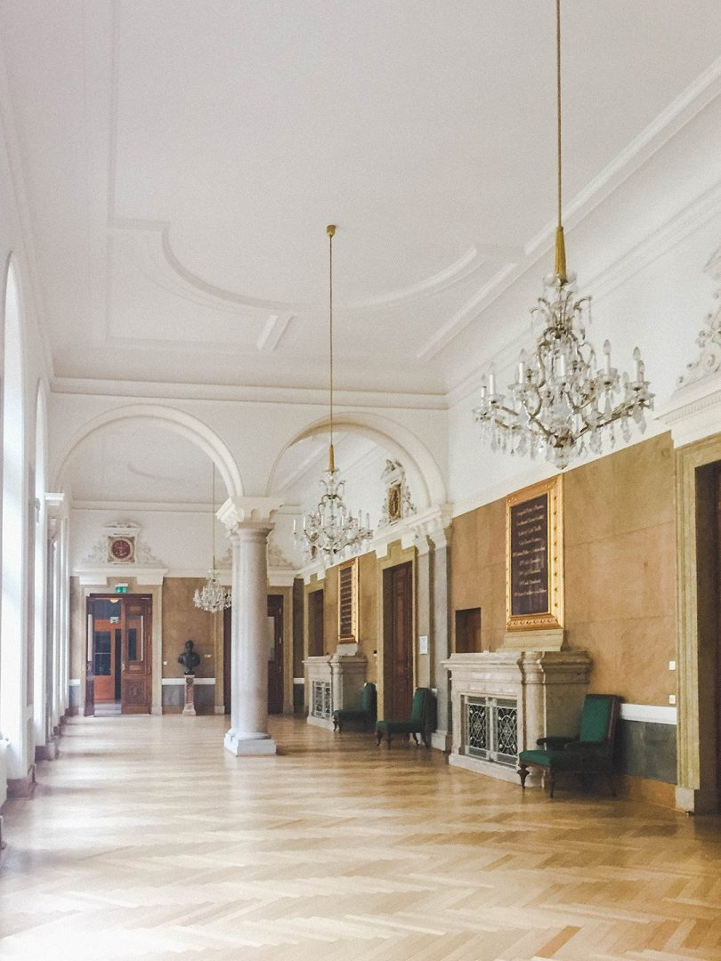A hallway in the Justitzpalast that looks like something out of Versailles