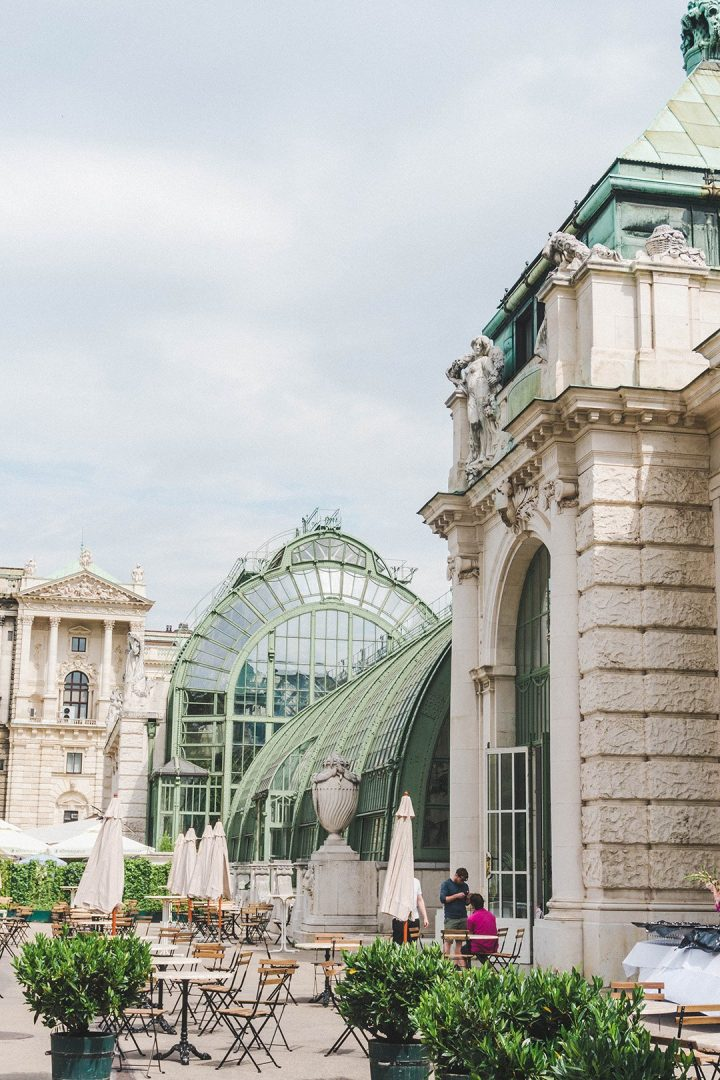 A greenhouse and chairs and tables in Vienna, Austria