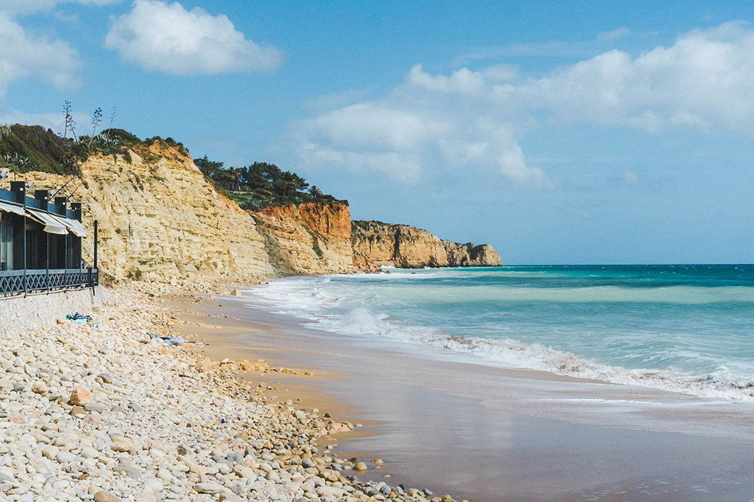 Porto de Mos beach in Lagos, Portugal - the end of the Lagos Cliff Hike