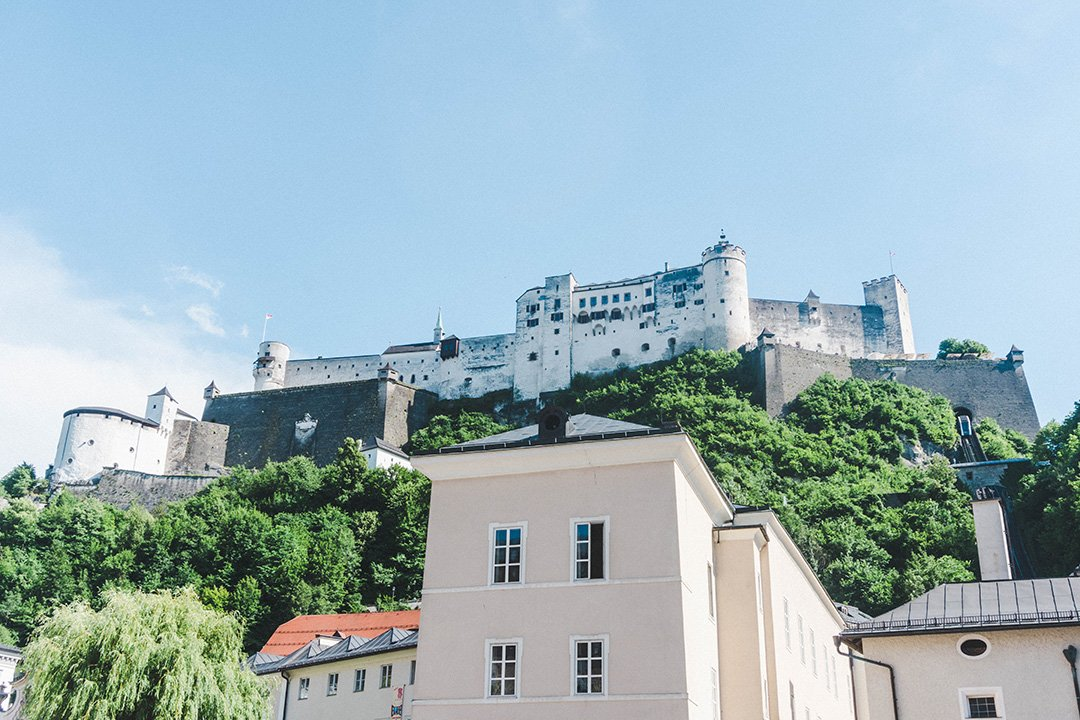 Looking up at the Salzburg Fortress from below