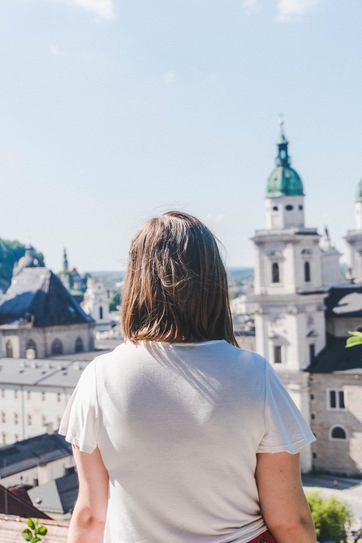 Addie staring off into the distance in Salzburg, Austria
