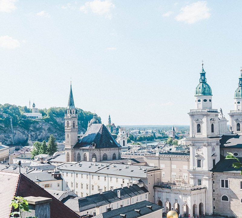 View of a church from a random viewpoint on the walk up to the Salzburg Fortress