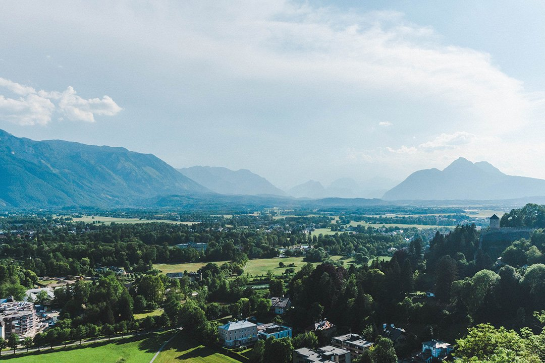 A beautiful view over the mountains outside of Salzburg, Austria from the Salzburg Fortress