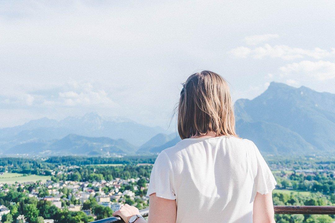 Addie staring out towards the hills is Salzburg, Austria