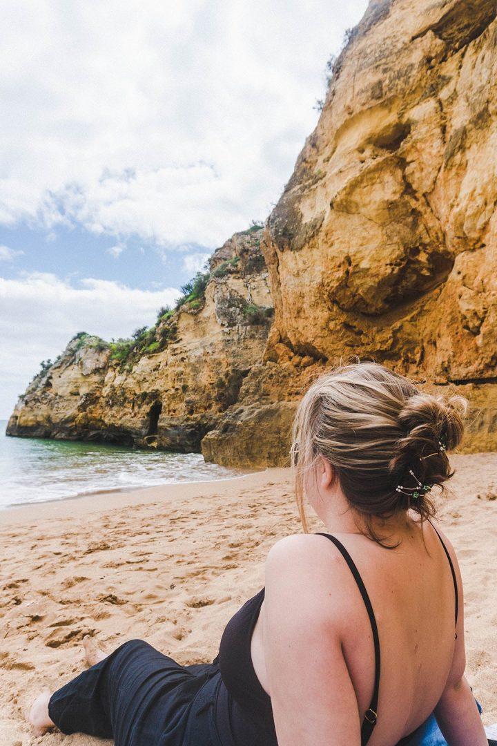 Madison on the Praia da Batata in Lagos, Portugal