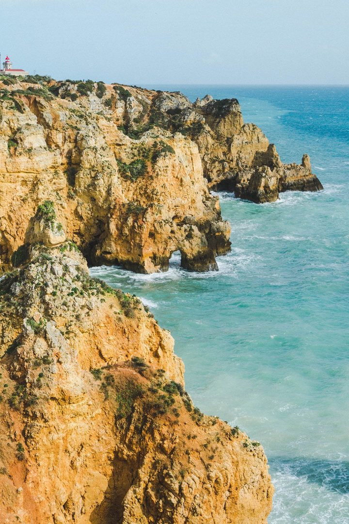 Stunning rock formations on the cliffs of Lagos, Portugal