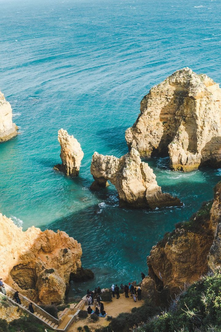 Looking down at the Ponta da Piedade in Lagos, Portugal
