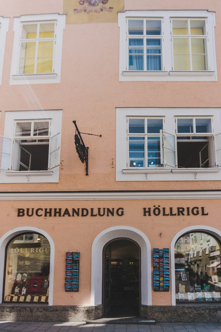 An old bookstore in Old Town Salzburg, Austria