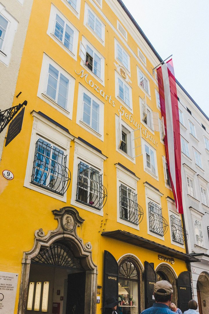 Mozart's birthplace in Salzburg, Austria -- a bright yellow building