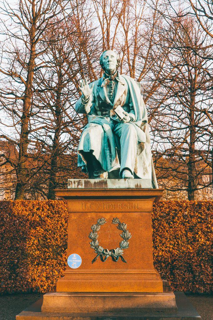 A statue of Hans Christian Anderson in the Rosenborg Castle gardens in Copenhagen