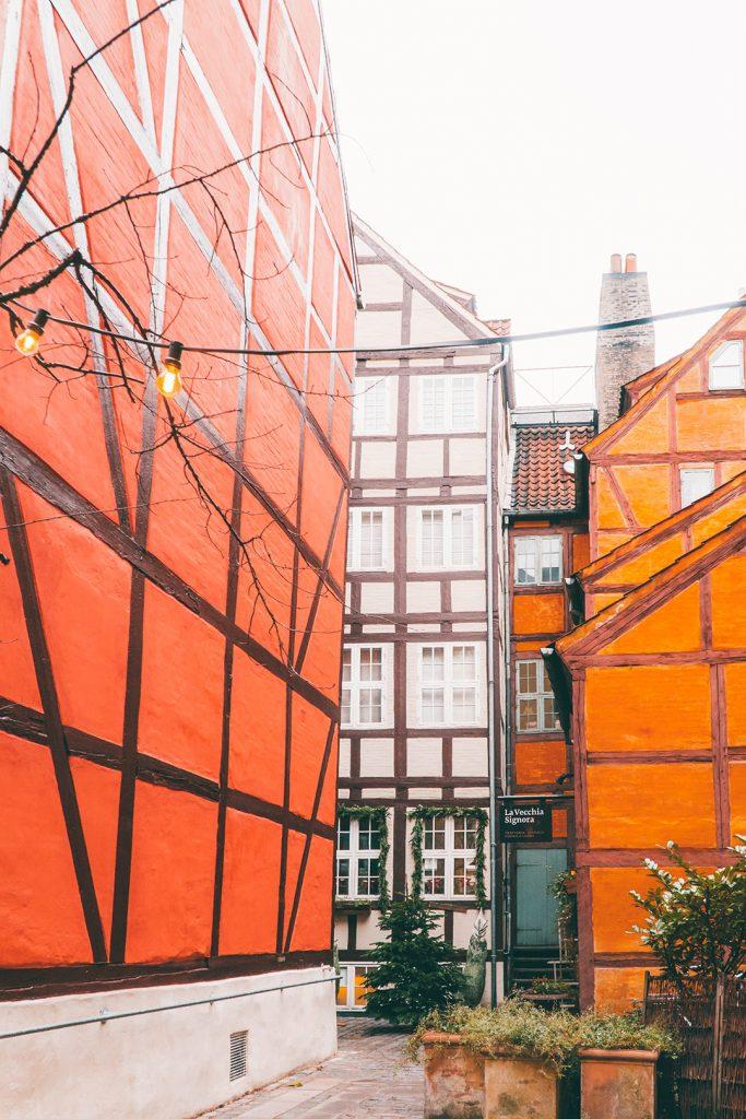 Half-timbered houses in a hidden alleyway in Copenhagne