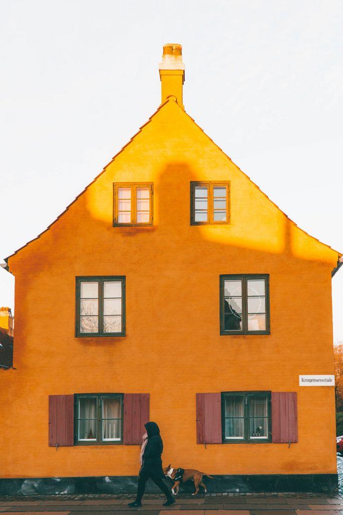 A woman walking her dog in Nyboder Copenhagen