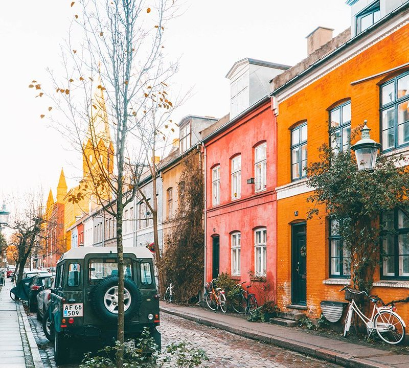 Cute colorful houses in Nyboder Copenhagen