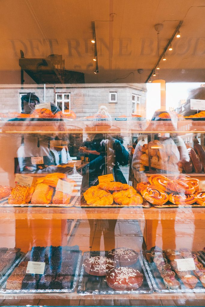 Pastry window display at a bakery in Copenhagen