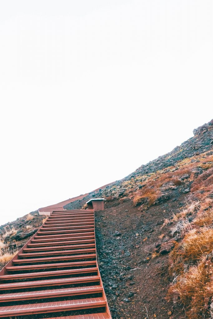 Stairs up to a volcanic crater