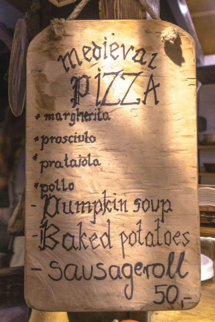 A Medieval Pizza menu at the Nyhavn Christmas Market