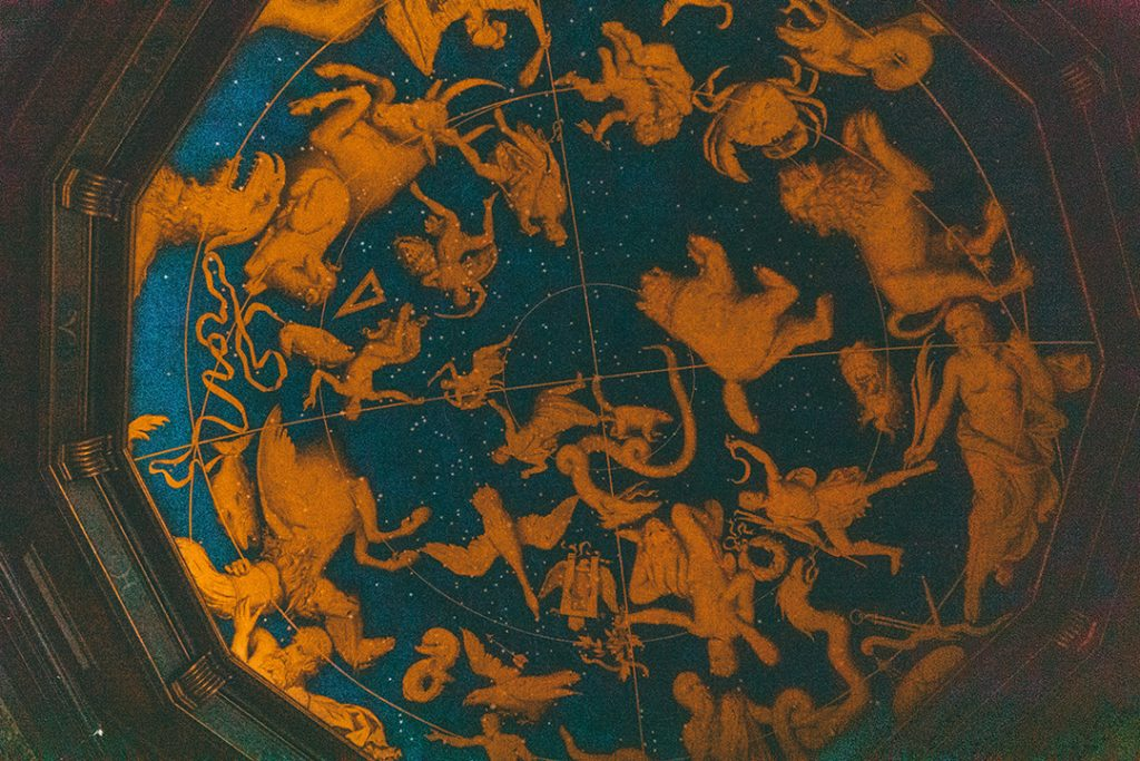 A ceiling depicting the night sky constellations in Frederiksborg Castle
