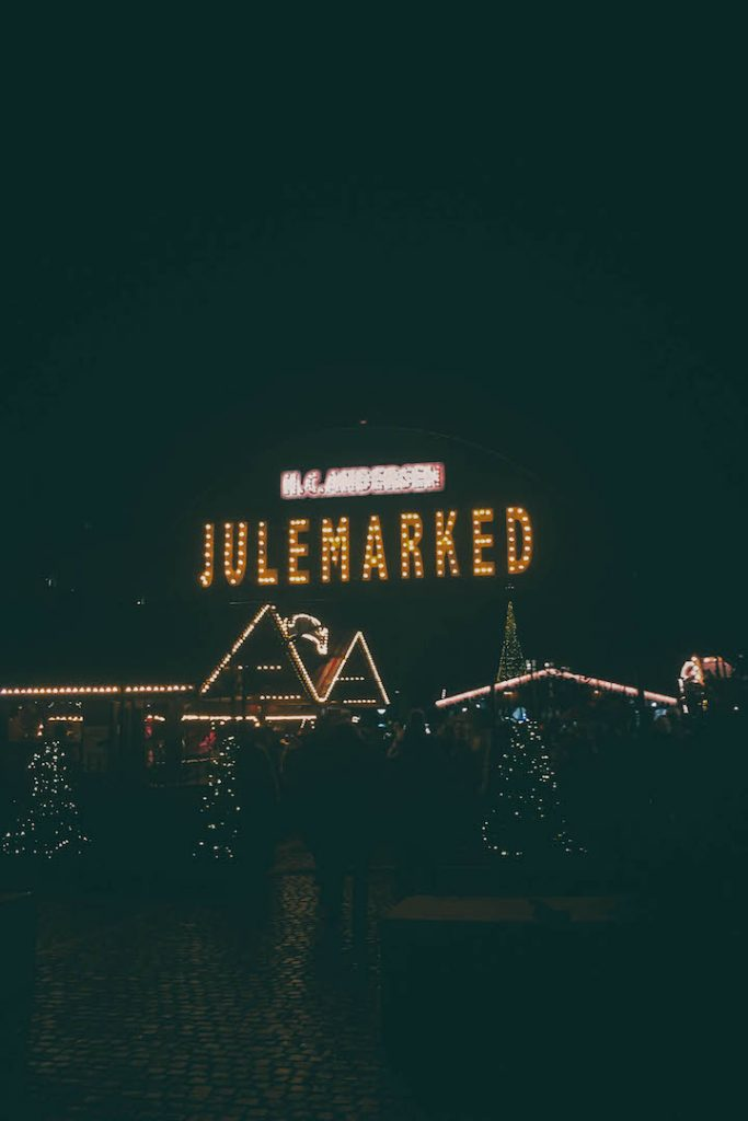 The H.C. Anderson Copenhagen Christmas Market at night