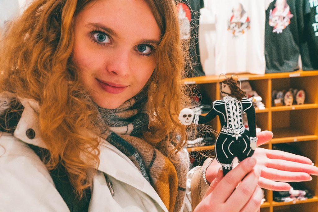 Megan holding a Hamlet Ornament