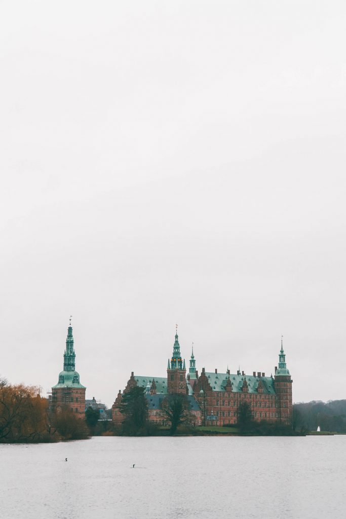 The view of Frederiksborg Castle from across the lake