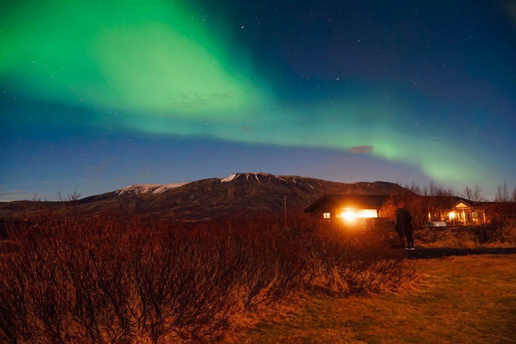 The northern lights just north of Reykjavik, Iceland