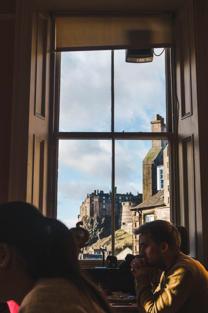 Looking out the window at Elephant House Cafe towards Edinburgh Castle