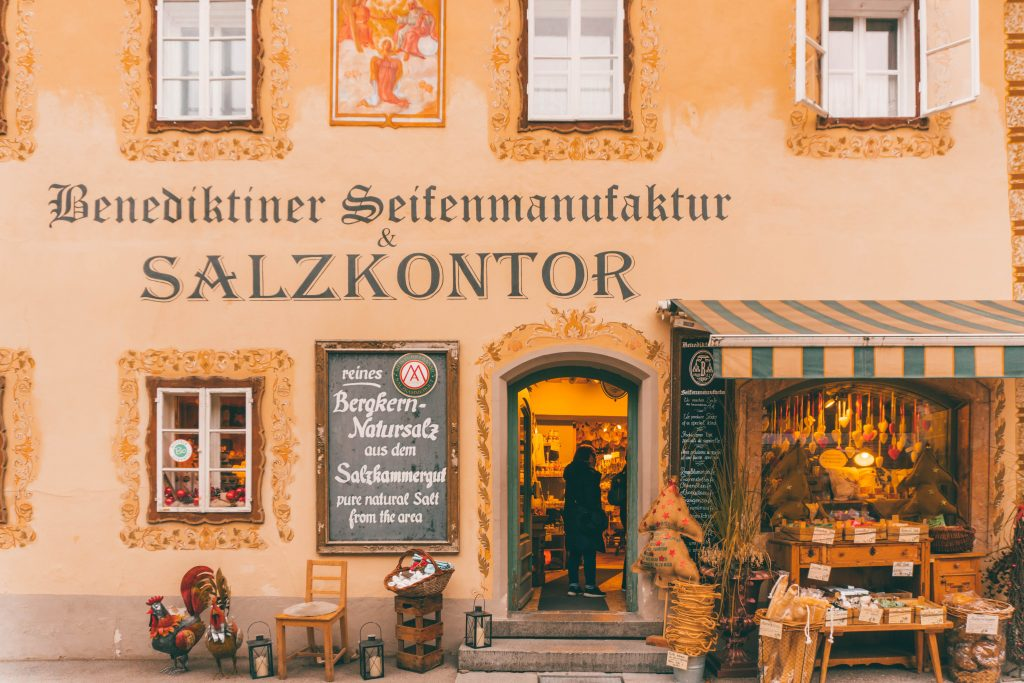 Salzkontor shop window -- a yellow building with soap for sale outside