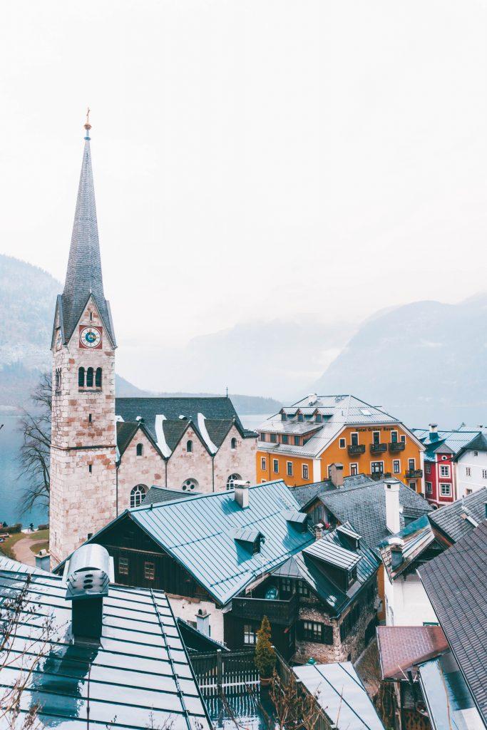The church of Hallstatt from above