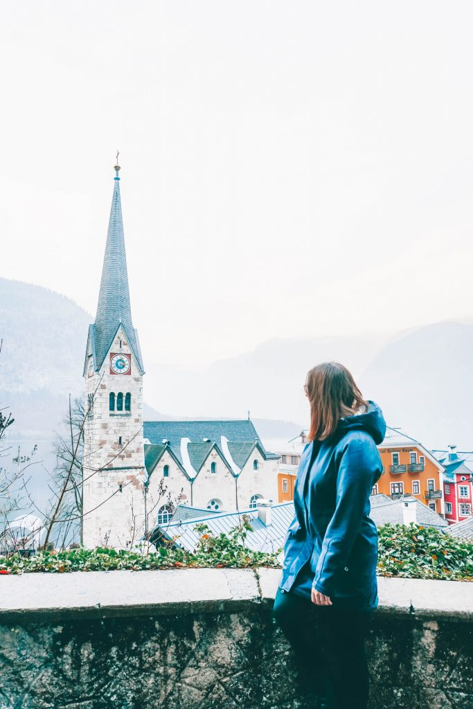 Addie looking out at the Hallstatt church