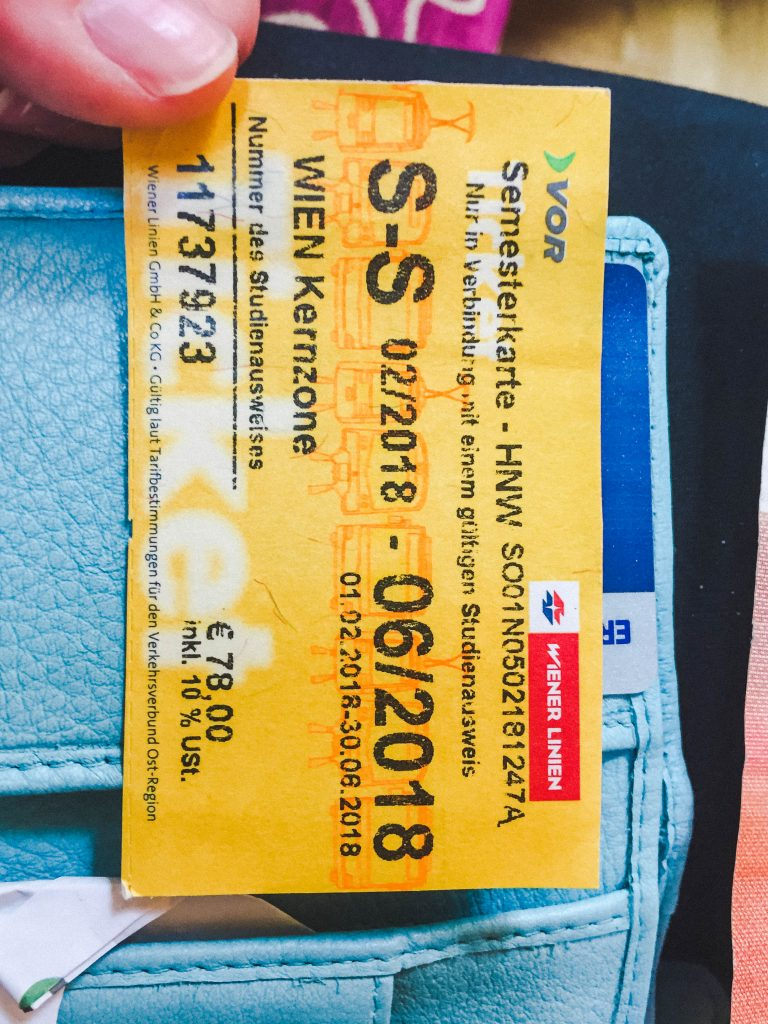 A yellow semester ticket for public transport while studying abroad in Vienna