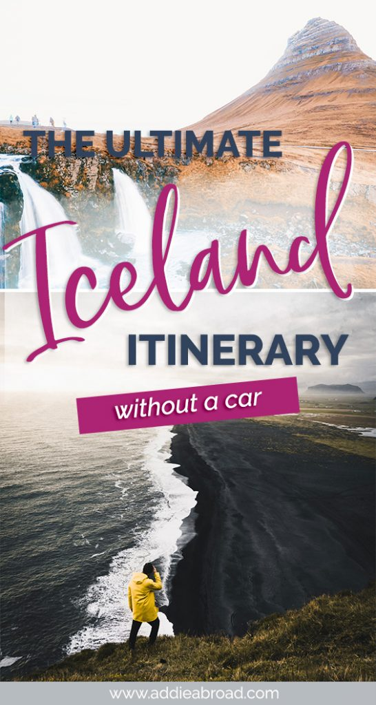 If you want to visit Iceland without a car, then you need to see this awesome 5 day Iceland Itinerary. It's chock full of the best things to do in Iceland, including the South Coast, Blue Lagoon, Reykjavik, Golden Circle, and Snaefellsnes Pensinsula! Click through to read.