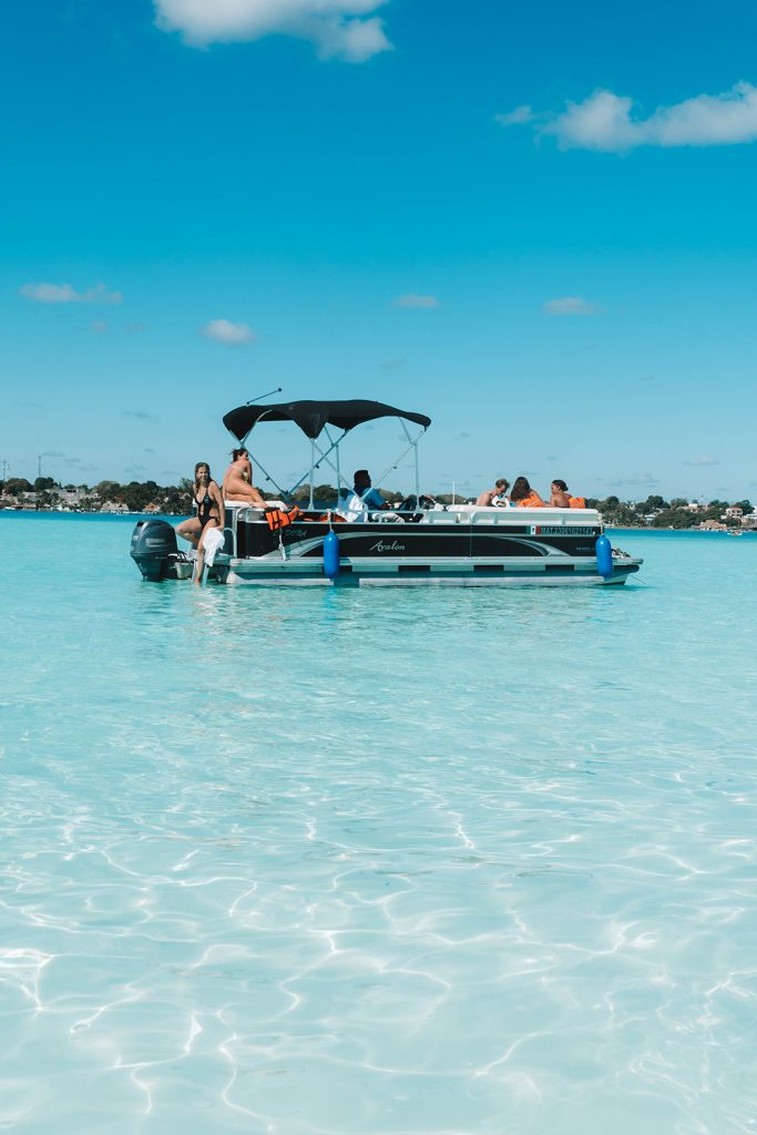 a GAIA experience boat in Bacalar, Mexico