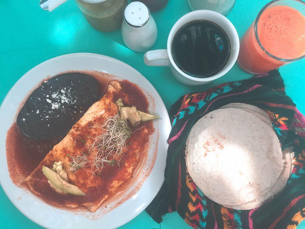 Huevos Rancheros at El Manati restaurant in Bacalar Mexico