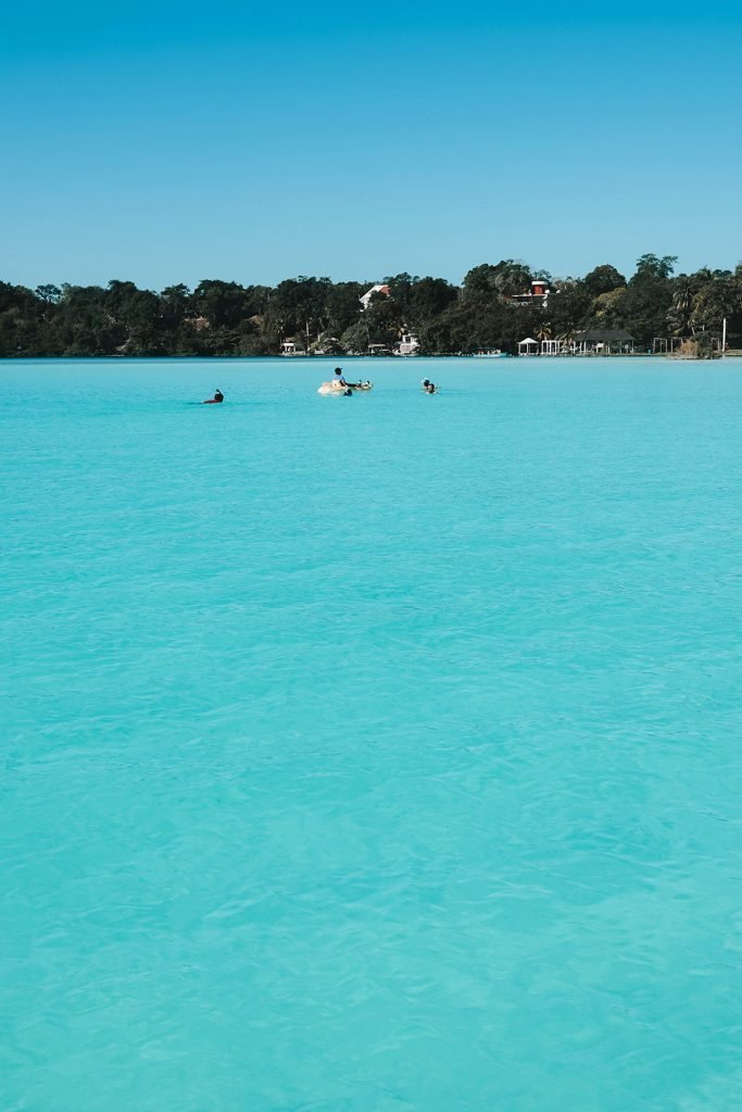 stunningly blue water in Bacalar Mexico