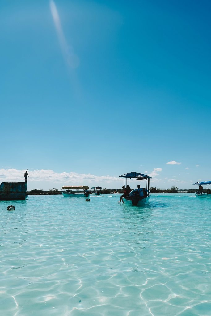 boats at the pirates canal in bacalar mexico
