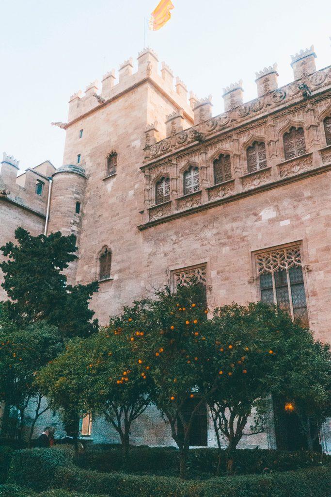 The outside of La Lonja, which kind of looks like a castle