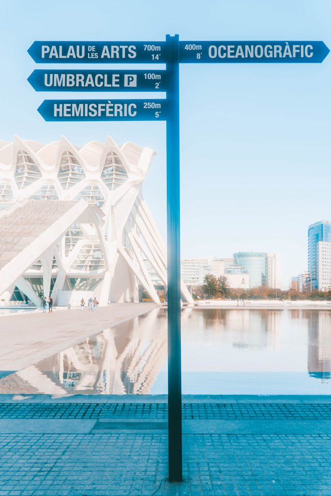 A sign pointing to the different buildings in the city of arts and sciences in Valencia, Spain