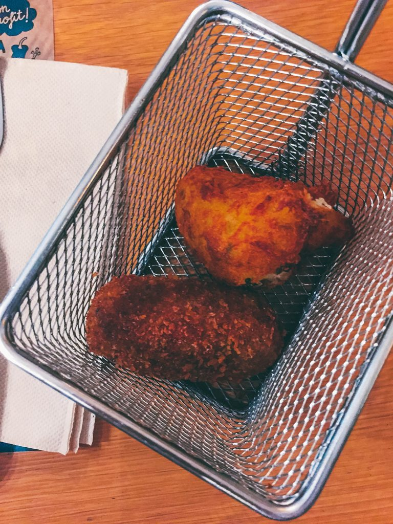 Ham croquette and cod fish fritter