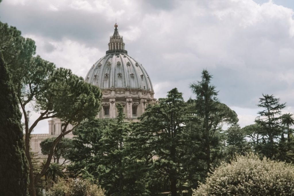 The dome of St Peter's Basilica as seen from inside the Vatican