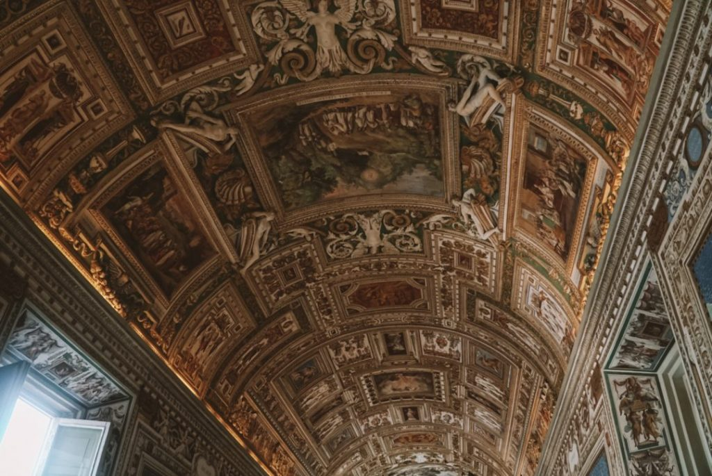 The ceiling in the hallway to the Winter Palace on our Vatican guided tours