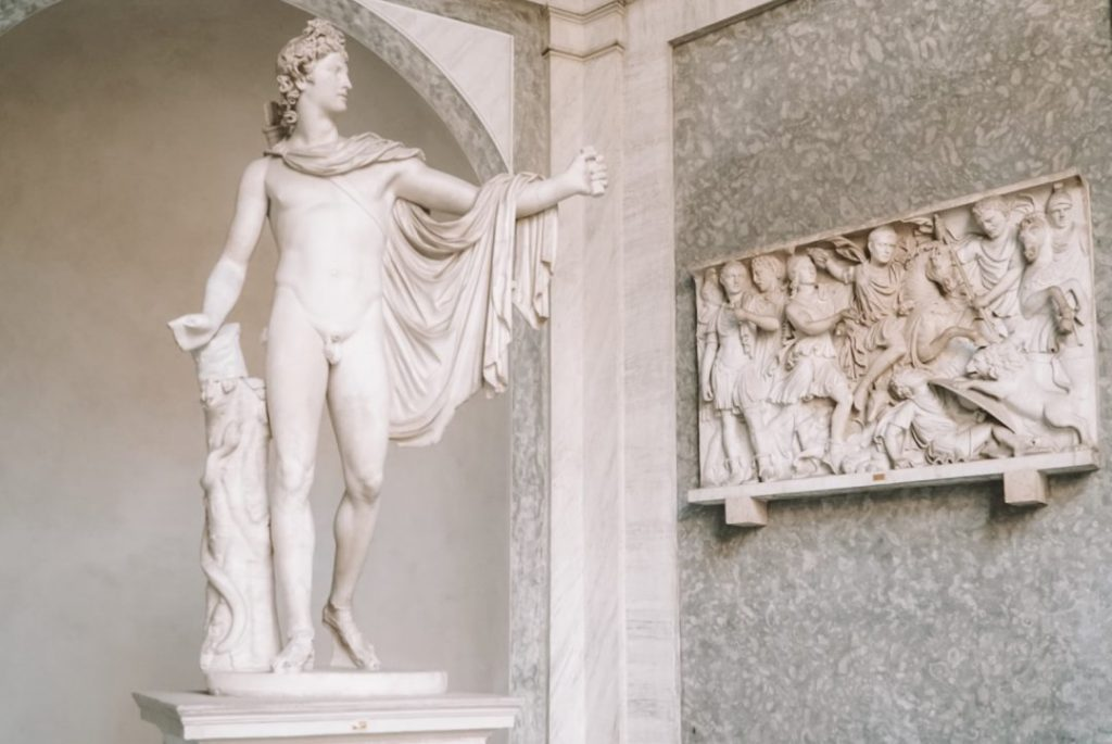 A statue of Apollo in the Vatican Museums, Rome.