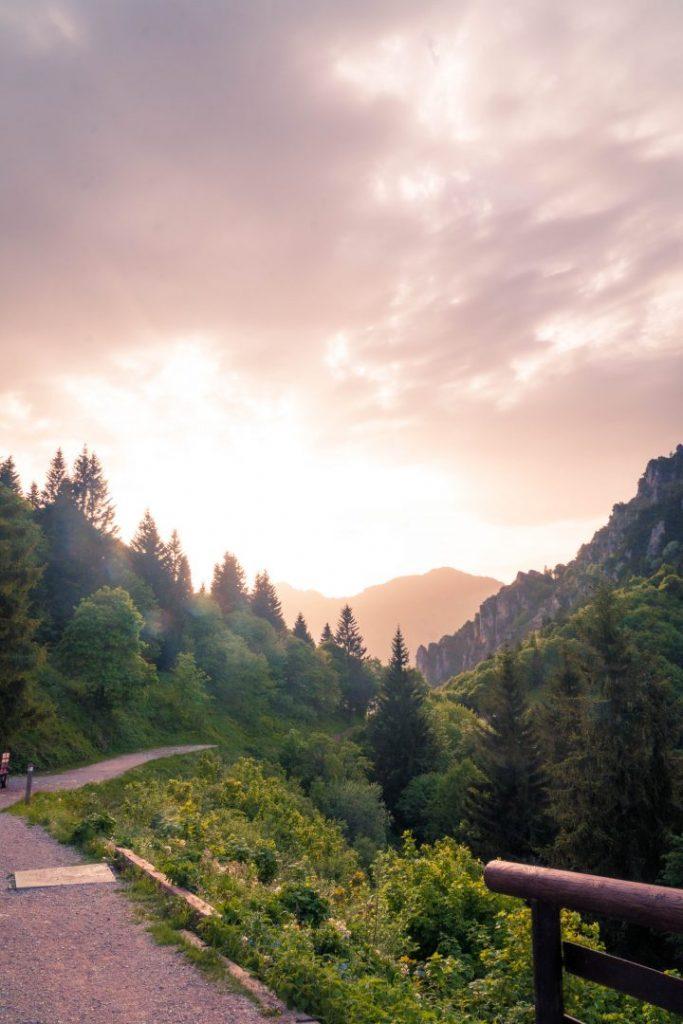 Sunset in the mountains at Rifugio Nino Pernici in Valle di Ledro