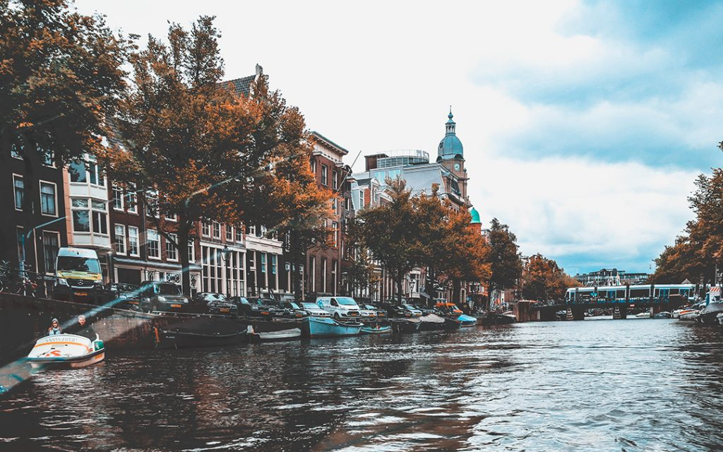 A canal in Amsterdam, Netherlands, Europe in the fall