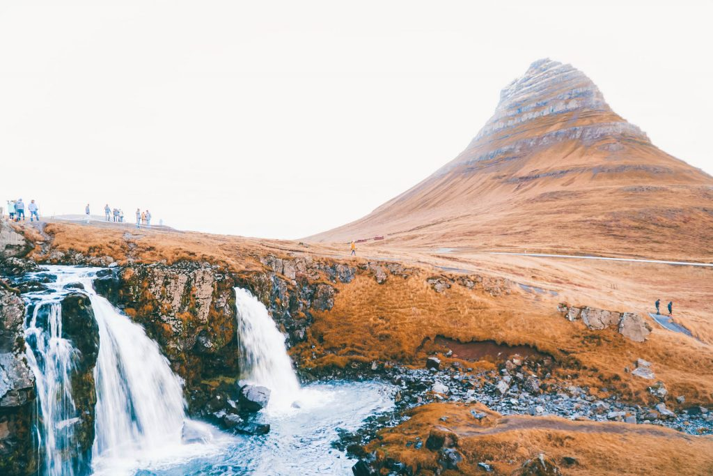 waterfalls in front of Kirkjufell in Iceland