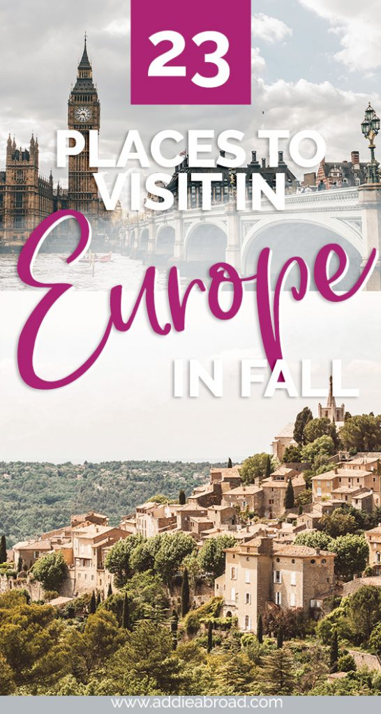 If you're looking for places to visit in Europe this fall, then you've come to the right place. This ultimate Europe bucket list has all of the best Europe fall destinations for food, history, city breaks, road trips, and more! #travel #europe #travelinspiration